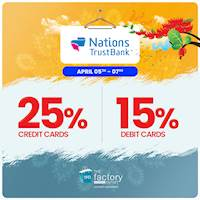 Get up to 25% OFF At The Factory Outlet for Nations Trust Bank Cards