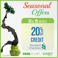 Enjoy 20% Off On Standard Chartered Credit Card at any Cool Planet store or www.coolplanet.lk