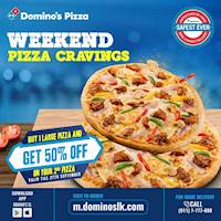 Buy 1 Large Pizza & get 50% off on the 2nd Pizza at Domino's Pizza