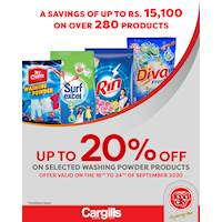 Get up to 20% off on selected Washing Powder products at Cargills FoodCity!
