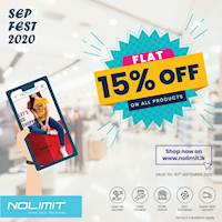 FLAT 15% OFF on ALL Products when you Shop Online at www.nolimit.lk