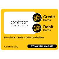 Enjoy up to 25% Off for BOC credit and Debit Cards at Cotton Collection