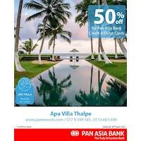 50% off at Apa Villa Thalpe for Pan Asia Bank Credit and Debit Cards